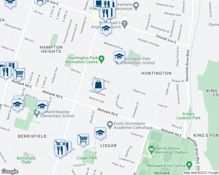 map of restaurants, bars, coffee shops, grocery stores, and more near 50 Burfield Avenue in Hamilton