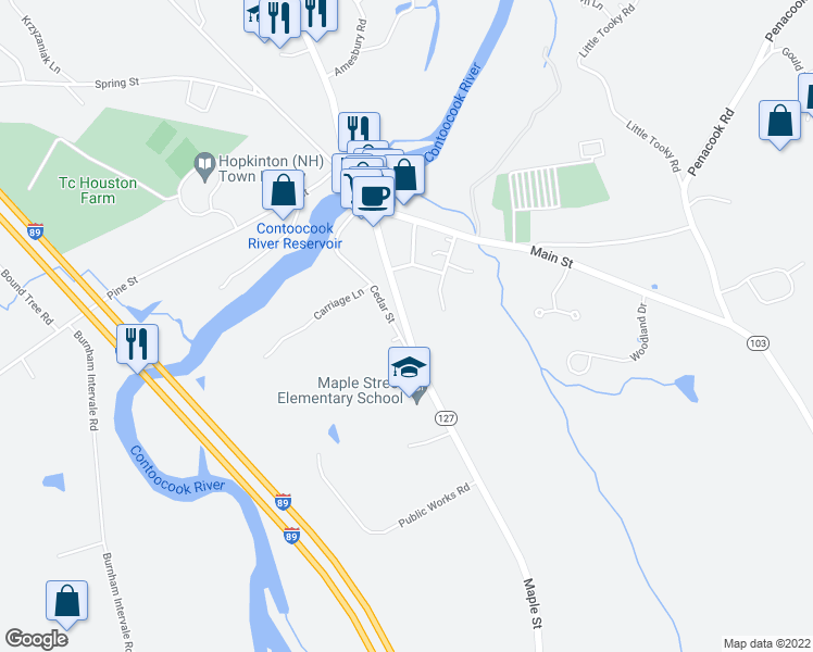 map of restaurants, bars, coffee shops, grocery stores, and more near 109 Maple Street in Hopkinton