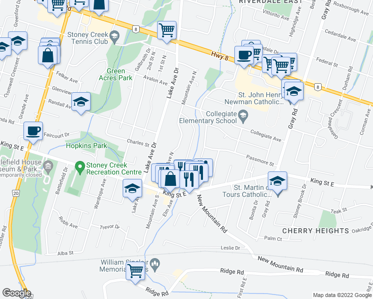 map of restaurants, bars, coffee shops, grocery stores, and more near 39 Bland Avenue in Hamilton
