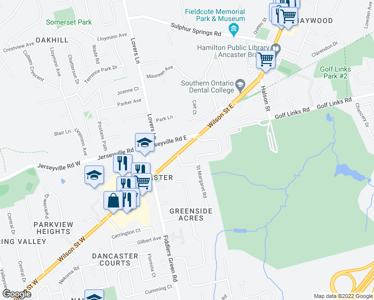 map of restaurants, bars, coffee shops, grocery stores, and more near 68 Wilson Street East in Hamilton