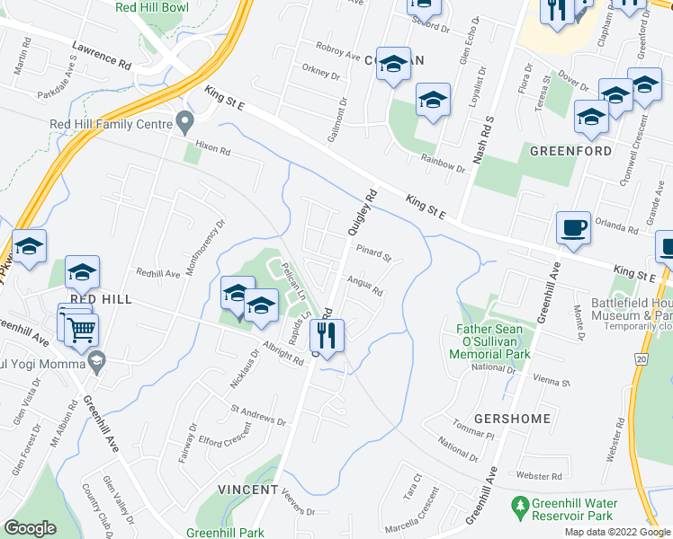 map of restaurants, bars, coffee shops, grocery stores, and more near 67 Quigley Road in Hamilton