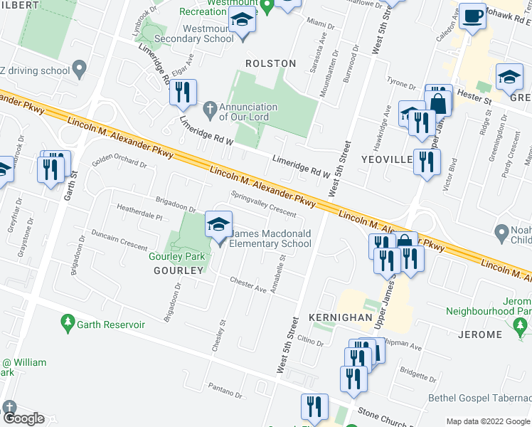 map of restaurants, bars, coffee shops, grocery stores, and more near 198 Brigadoon Drive in Hamilton