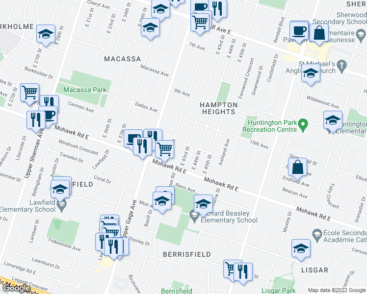 map of restaurants, bars, coffee shops, grocery stores, and more near 732 11th Avenue in Hamilton
