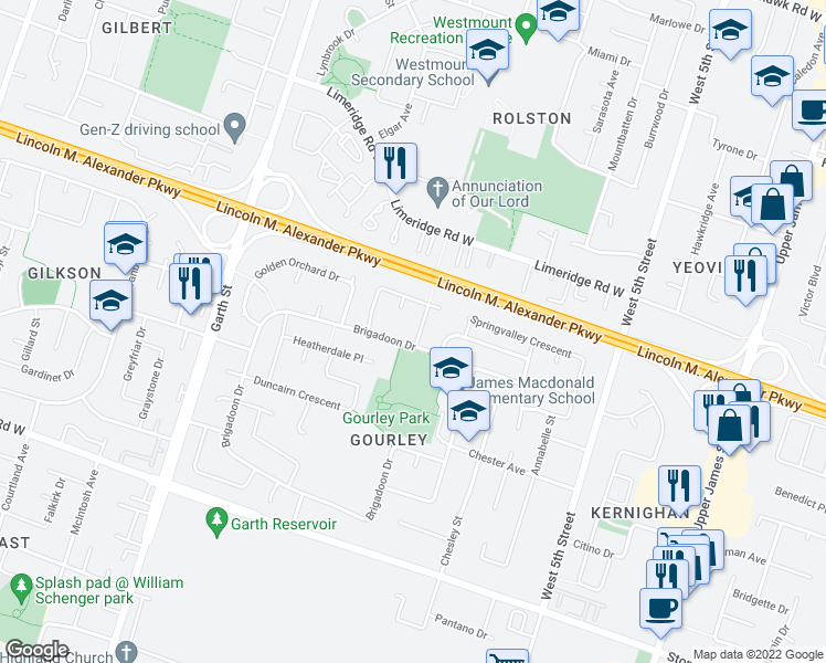 map of restaurants, bars, coffee shops, grocery stores, and more near 361 Brigadoon Drive in Hamilton
