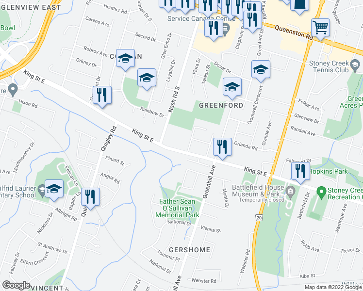 map of restaurants, bars, coffee shops, grocery stores, and more near 2737 King Street East in Hamilton