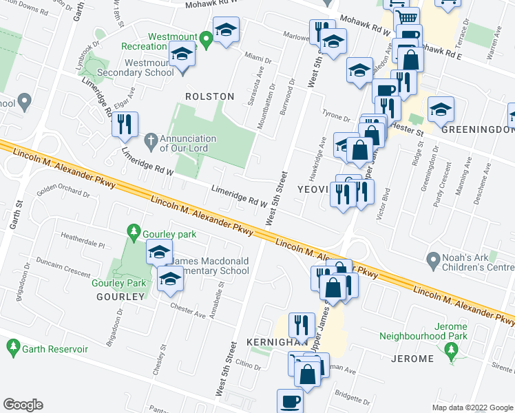 map of restaurants, bars, coffee shops, grocery stores, and more near 125 Limeridge Road West in Hamilton