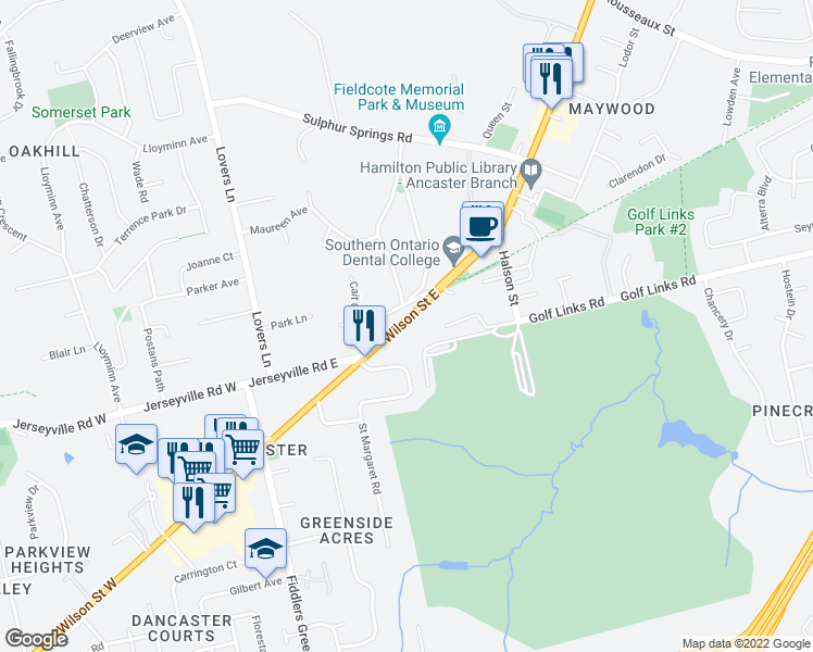 map of restaurants, bars, coffee shops, grocery stores, and more near 144 Wilson Street East in Hamilton