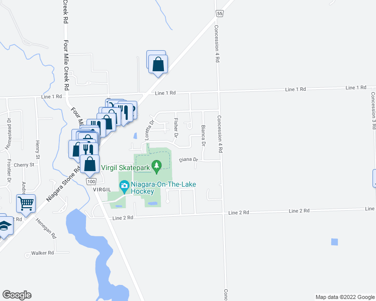 map of restaurants, bars, coffee shops, grocery stores, and more near 125 Loretta Drive in Niagara-on-the-Lake