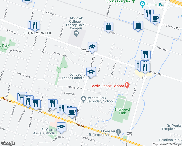 map of restaurants, bars, coffee shops, grocery stores, and more near 272 Dewitt Road in Hamilton