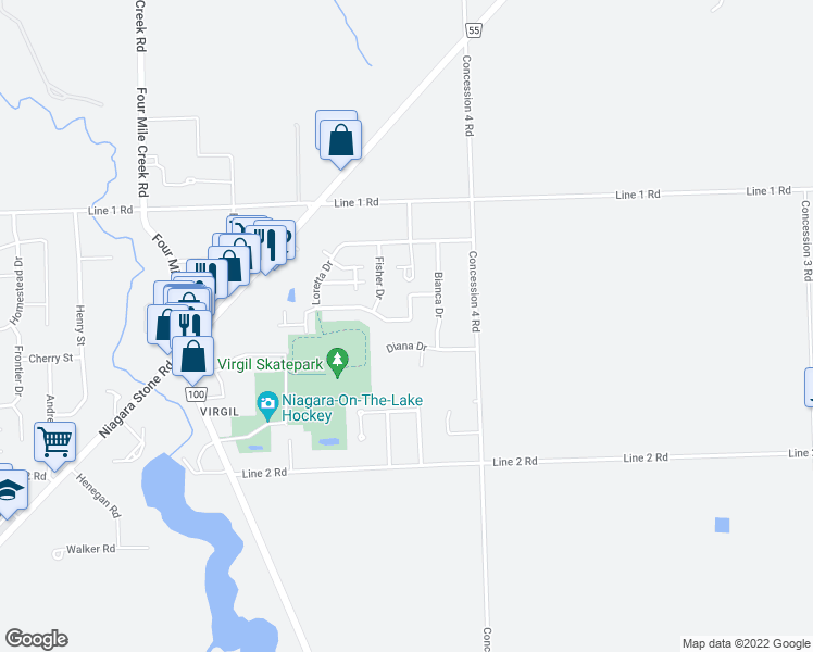 map of restaurants, bars, coffee shops, grocery stores, and more near 134 Loretta Drive in Niagara-on-the-Lake