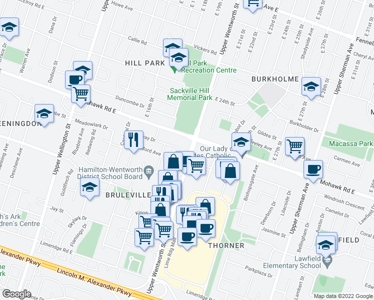 map of restaurants, bars, coffee shops, grocery stores, and more near 820 Upper Wentworth Street in Hamilton