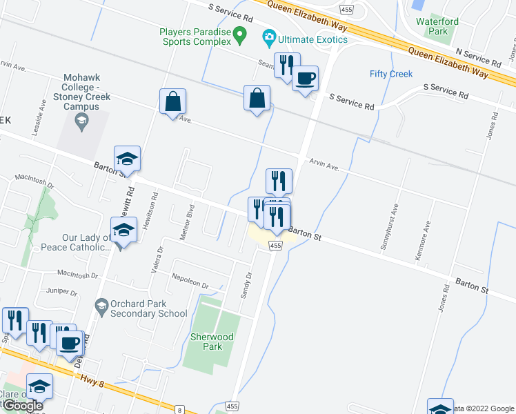 map of restaurants, bars, coffee shops, grocery stores, and more near 1-1175 Barton Street in Hamilton