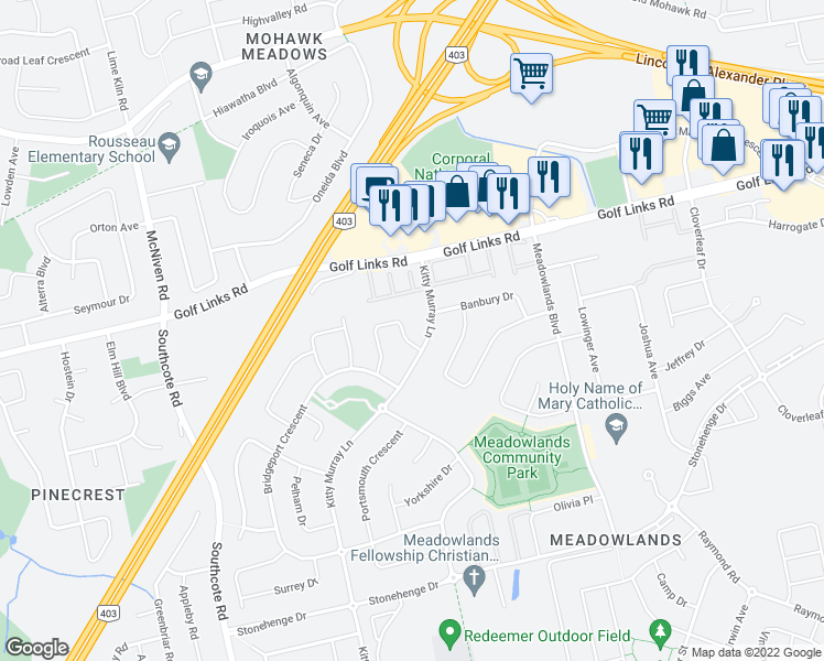 map of restaurants, bars, coffee shops, grocery stores, and more near 12 Steeplechase Drive in Hamilton
