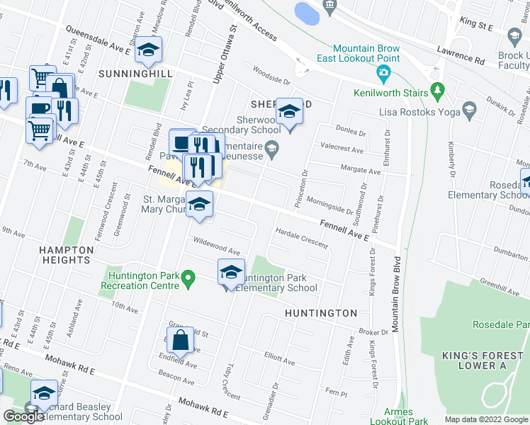 map of restaurants, bars, coffee shops, grocery stores, and more near 302 Fennell Avenue East in Hamilton