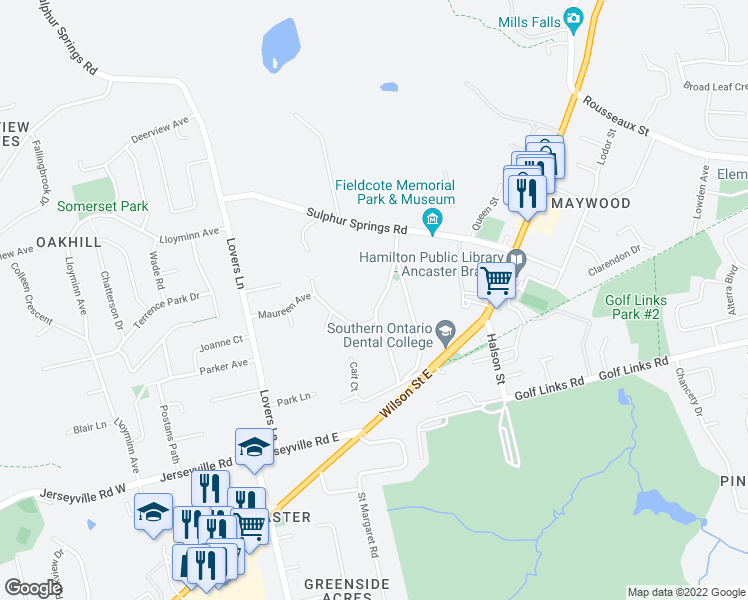 map of restaurants, bars, coffee shops, grocery stores, and more near 110 Mansfield Drive in Hamilton
