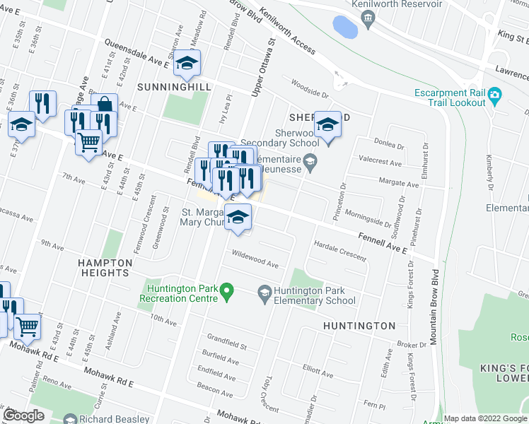 map of restaurants, bars, coffee shops, grocery stores, and more near 1170 Fennell Avenue East in Hamilton