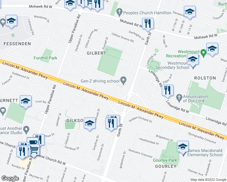 map of restaurants, bars, coffee shops, grocery stores, and more near 8 Caroga Court in Hamilton