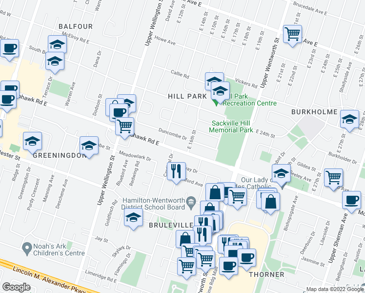 map of restaurants, bars, coffee shops, grocery stores, and more near 293 Mohawk Road East in Hamilton