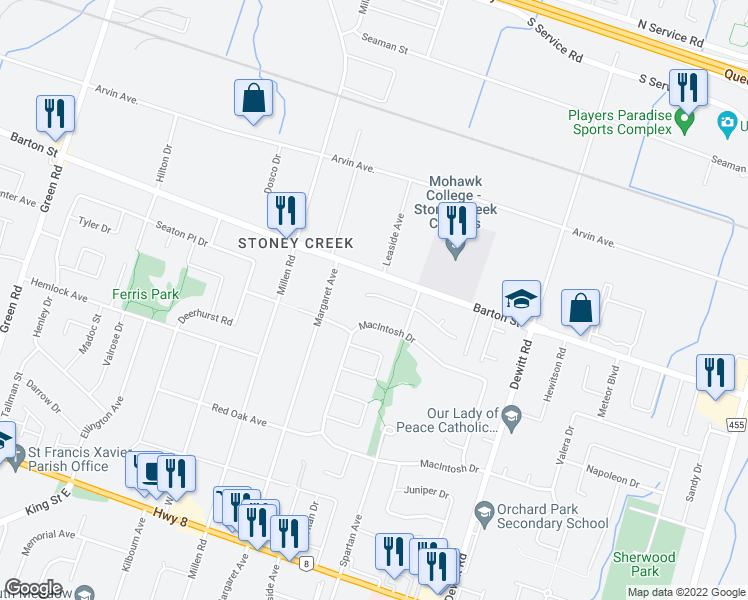 map of restaurants, bars, coffee shops, grocery stores, and more near 27 Puritan Court in Hamilton