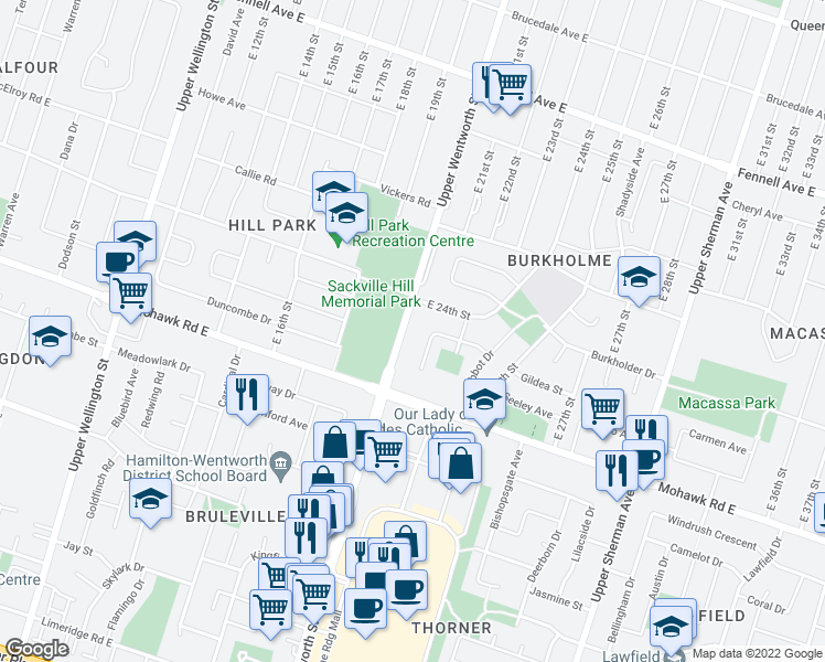map of restaurants, bars, coffee shops, grocery stores, and more near 729 Upper Wentworth Street in Hamilton