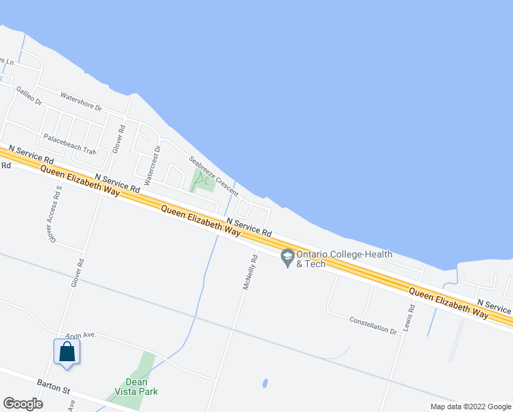 map of restaurants, bars, coffee shops, grocery stores, and more near 41 Seabreeze Crescent in Hamilton