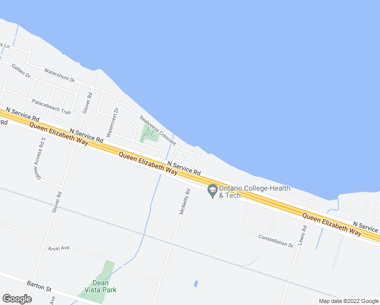 map of restaurants, bars, coffee shops, grocery stores, and more near 45 Seabreeze Crescent in Hamilton