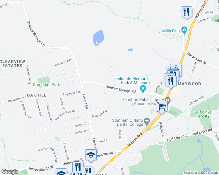 map of restaurants, bars, coffee shops, grocery stores, and more near 160 Sulphur Springs Road in Hamilton