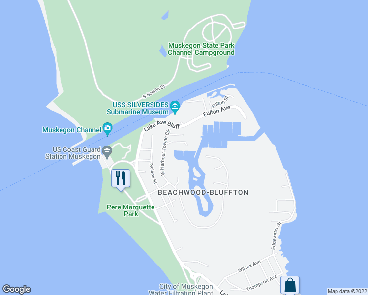 map of restaurants, bars, coffee shops, grocery stores, and more near 3551 Marina View Point in Muskegon