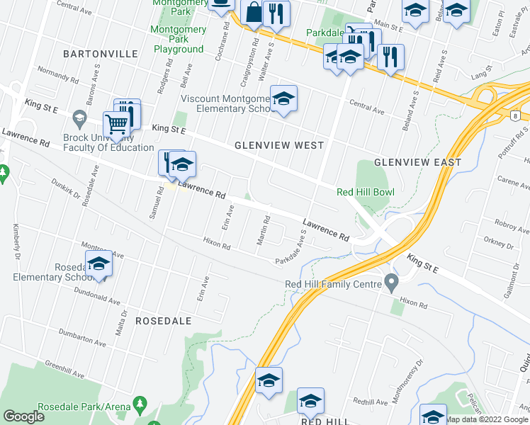 map of restaurants, bars, coffee shops, grocery stores, and more near 2 Martin Road in Hamilton