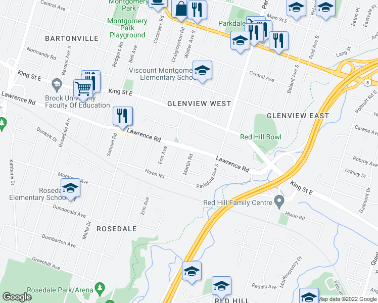 map of restaurants, bars, coffee shops, grocery stores, and more near 309 Glenholme Avenue in Hamilton
