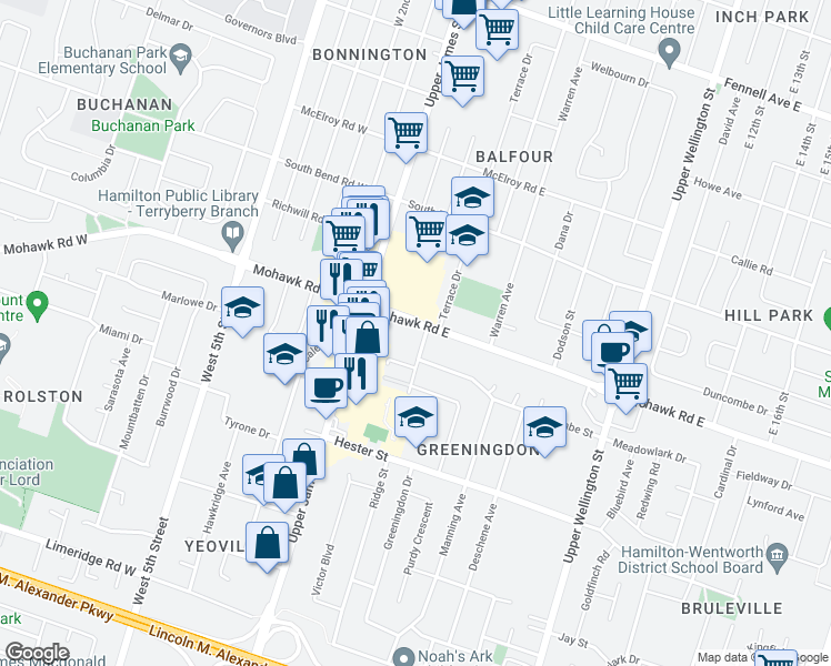 map of restaurants, bars, coffee shops, grocery stores, and more near 45 Mohawk Road East in Hamilton