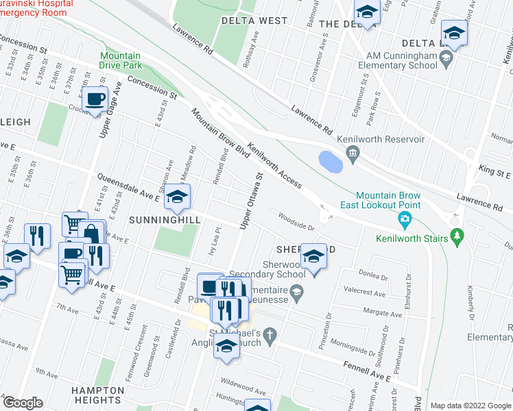 map of restaurants, bars, coffee shops, grocery stores, and more near 351 Upper Ottawa Street in Hamilton