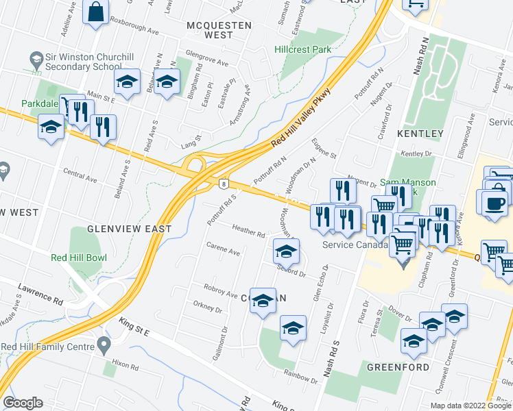 map of restaurants, bars, coffee shops, grocery stores, and more near 494 Queenston Road in Hamilton