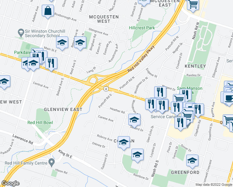 map of restaurants, bars, coffee shops, grocery stores, and more near 484 Queenston Road in Hamilton