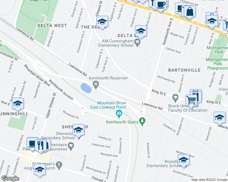 map of restaurants, bars, coffee shops, grocery stores, and more near 317 Graham Avenue South in Hamilton