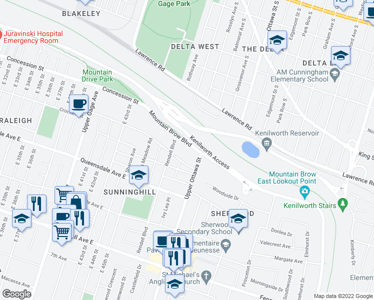 map of restaurants, bars, coffee shops, grocery stores, and more near 68 Mountain Brow Boulevard in Hamilton
