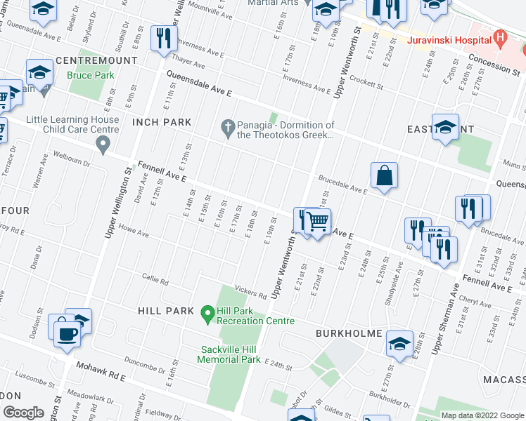 map of restaurants, bars, coffee shops, grocery stores, and more near 416 Fennell Avenue East in Hamilton