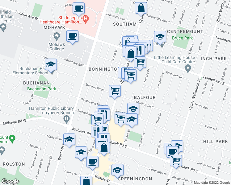 map of restaurants, bars, coffee shops, grocery stores, and more near 692 Upper James Street in Hamilton