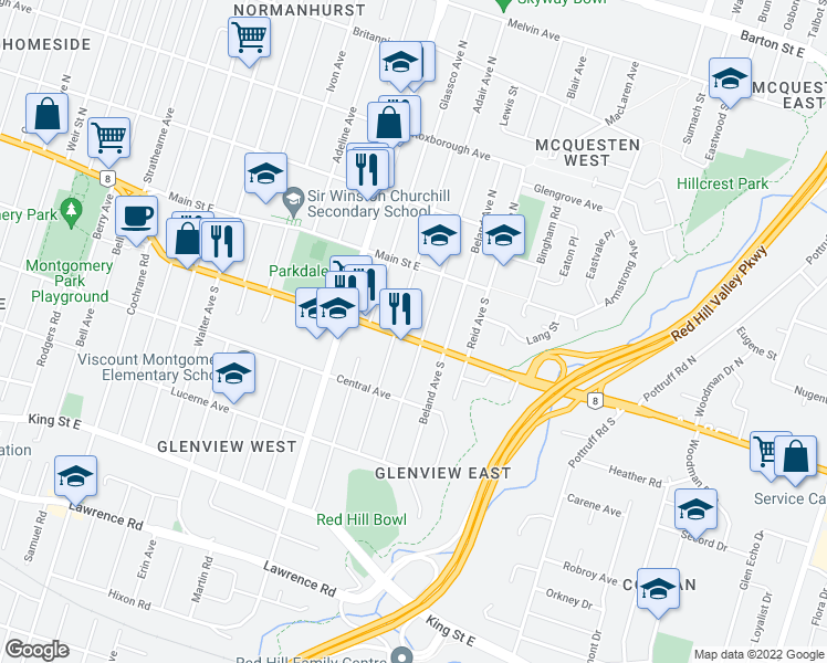 map of restaurants, bars, coffee shops, grocery stores, and more near 35 Delena Avenue South in Hamilton