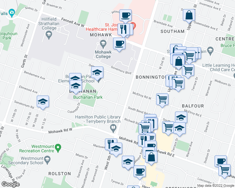 map of restaurants, bars, coffee shops, grocery stores, and more near 36 Collier Crescent in Hamilton