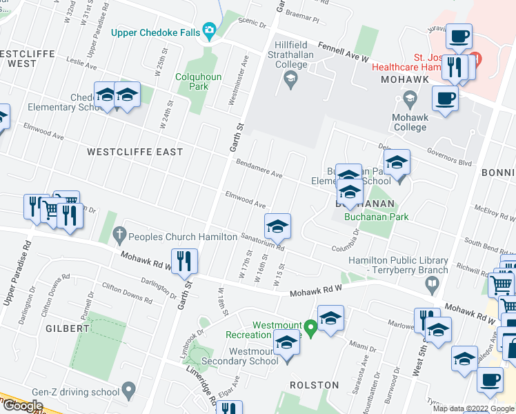 map of restaurants, bars, coffee shops, grocery stores, and more near 177 West 18th Street in Hamilton