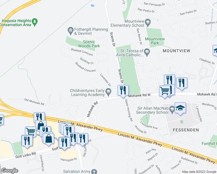 map of restaurants, bars, coffee shops, grocery stores, and more near 108 Lavender Drive in Hamilton