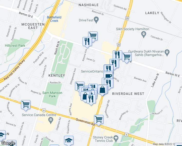 map of restaurants, bars, coffee shops, grocery stores, and more near 47 Fairington Crescent in Hamilton