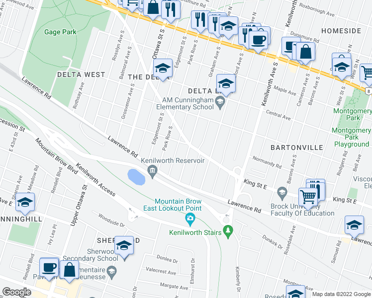 map of restaurants, bars, coffee shops, grocery stores, and more near 246 Graham Avenue South in Hamilton