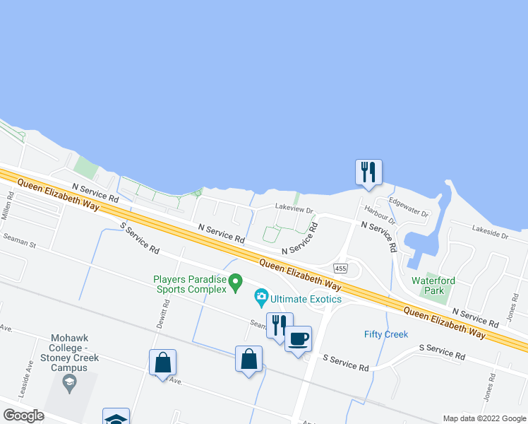 map of restaurants, bars, coffee shops, grocery stores, and more near 44 Lakeview Drive in Hamilton