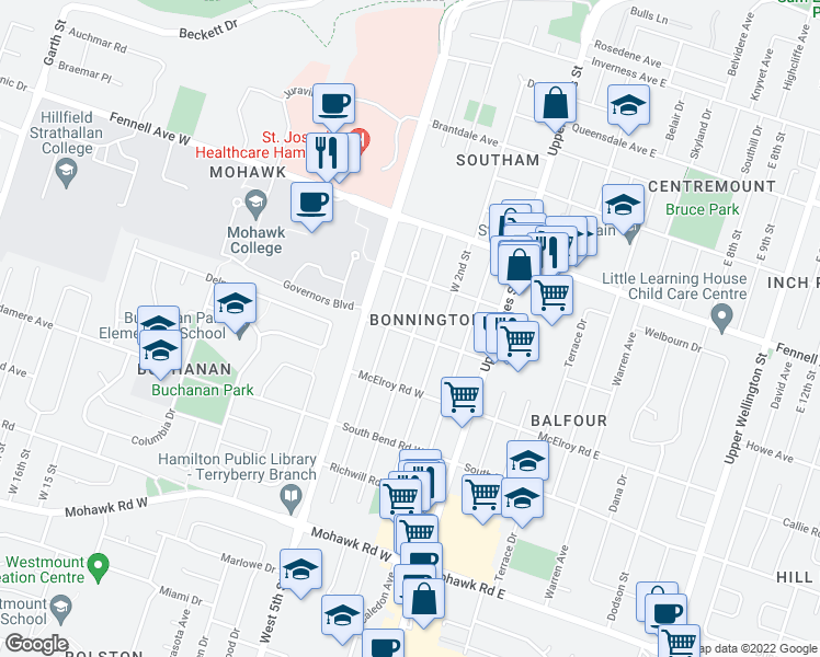 map of restaurants, bars, coffee shops, grocery stores, and more near 36 West 3rd Street in Hamilton