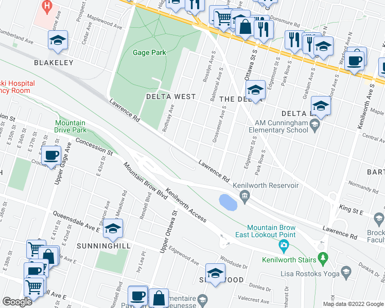 map of restaurants, bars, coffee shops, grocery stores, and more near 242 Balmoral Avenue South in Hamilton
