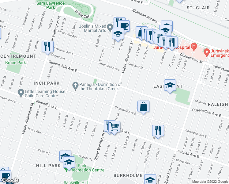 map of restaurants, bars, coffee shops, grocery stores, and more near 518 Upper Wentworth Street in Hamilton
