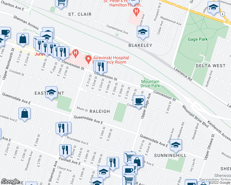 map of restaurants, bars, coffee shops, grocery stores, and more near 53 East 35th Street in Hamilton