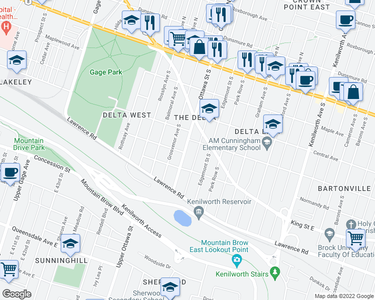 map of restaurants, bars, coffee shops, grocery stores, and more near 162 London Street South in Hamilton